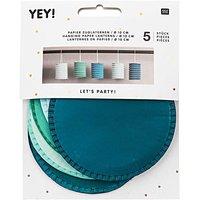 YEY! Let's Party Zuglaterne aqua 10x13cm Papier 5 Stück