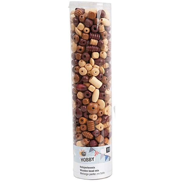 Rico Design Holzperlen Mix natur 500g
