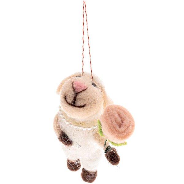 Filz-Schaf mit Blume zum Hängen weiß-rosa 11cm