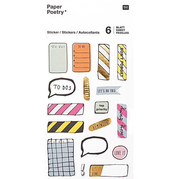 Paper Poetry Sticker Notes 6 Blatt