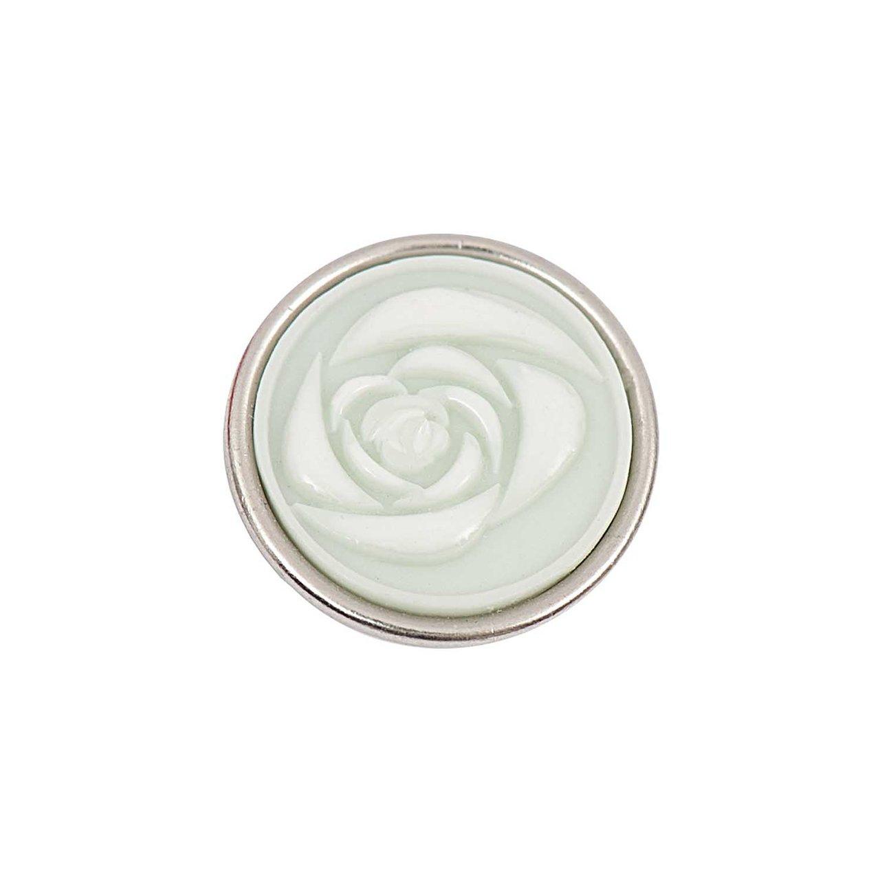 Rico Design Knopf Rose hellgrün-beige 14mm