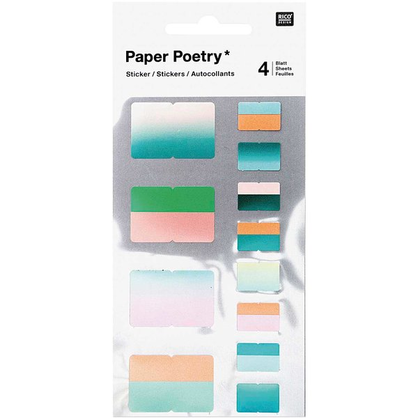 Paper Poetry Sticker Register grün 48 Stück