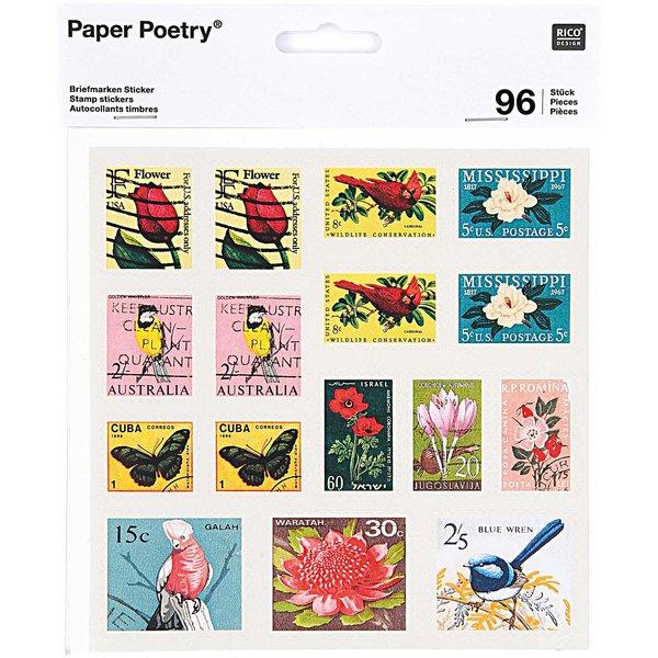 Paper Poetry Sticker Briefmarken II 15x15cm 96 Stück