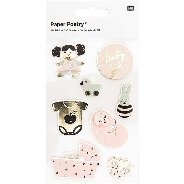 Paper Poetry 3D-Sticker Baby Mädchen 8 Stück