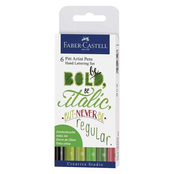 Faber Castell Tuschestift Pitt Artist Pen Handlettering Grüntöne 6 Stück