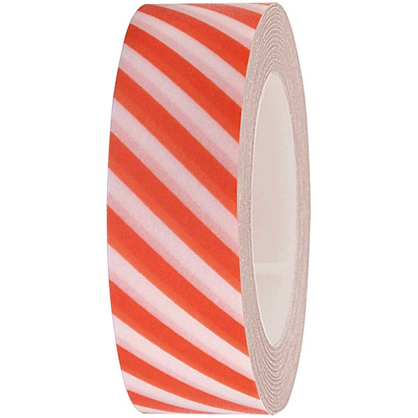 Rico Design Tape weiß-orange gestreift 15mm 10m