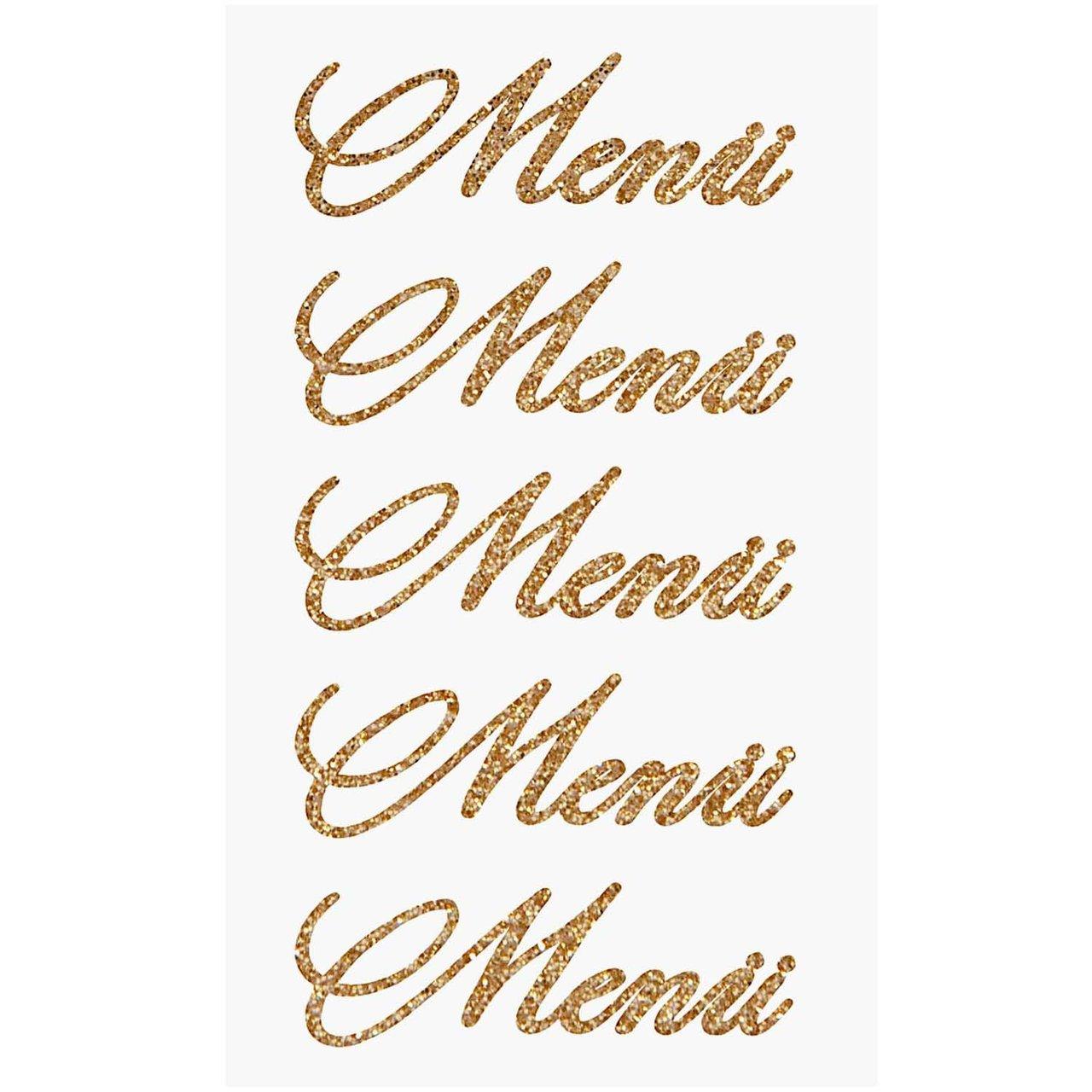 Paper Poetry Glitter-Sticker Menü gold