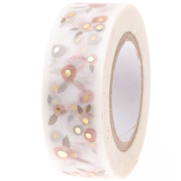 Paper Poetry Tape Blüten puder-gold 1,5cm 10m