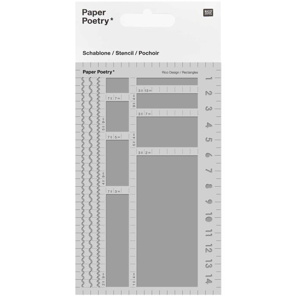 Paper Poetry Bullet Diary Schablone Rechtecke 9,5x15cm