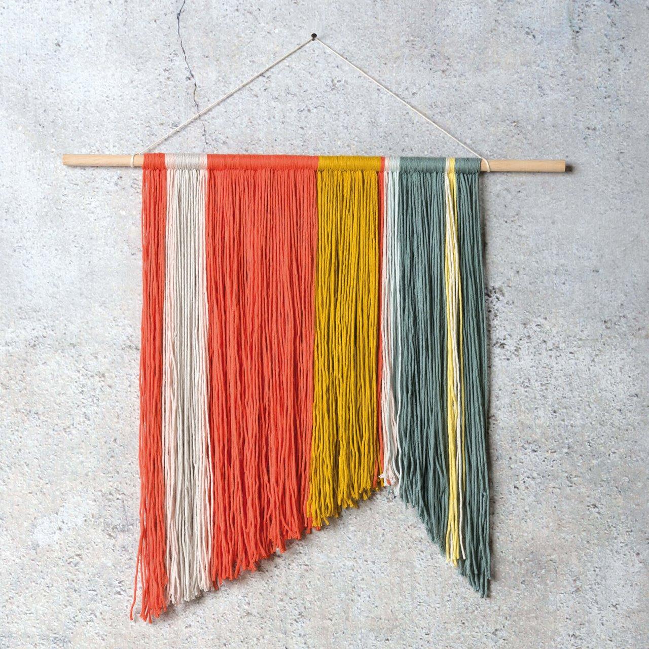 Anleitung Geometrischer Wandbehang aus Wolle