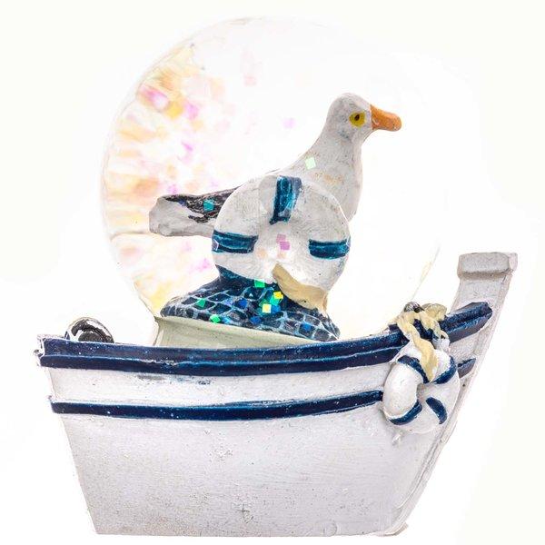 Schüttelkugel Möwe weiß-blau 6cm