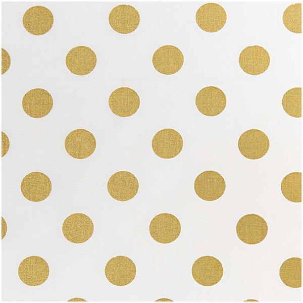 Rico Design Stoff Punkte groß weiß-gold 140cm