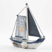 Segelboot weiß-blau 16x13x3,5cm