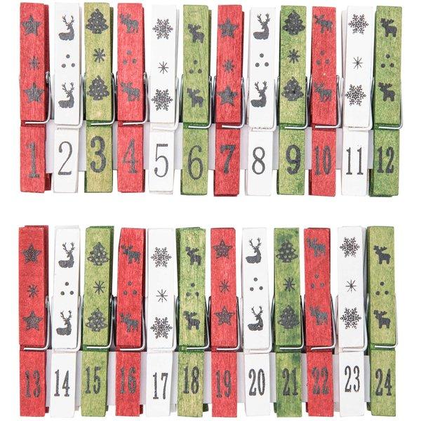 Adventskalender Zahlen Klammern rot-creme-grün 24 Stück