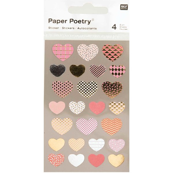 Paper Poetry Sticker Herzen metallic 4 Bogen