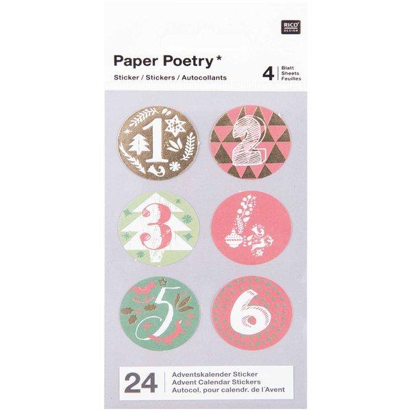 Paper Poetry Adventskalender Sticker rot-grün 24 Stück