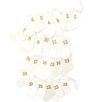 Adventskalender Socken weiß-gold