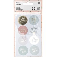 Paper Poetry Sticker Jolly Christmas pastell rund 4 Blatt