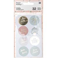 Paper Poetry Sticker Jolly Christmas pastell rund 4 Blatt
