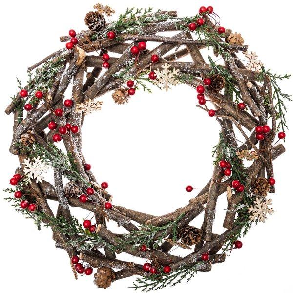Kranz mit Zweigen und Beeren natur-rot-grün 38cm